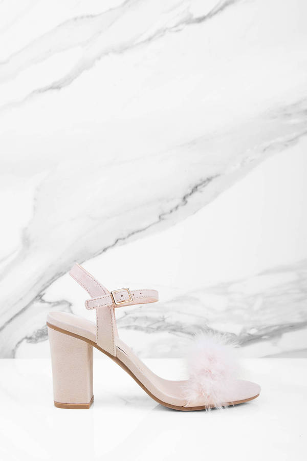 Faye Feather Natural Ankle Strap Heels