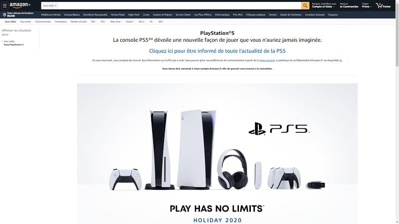 Image 2: PS5: Amazon online page, Sony will announce the price and release date of its console