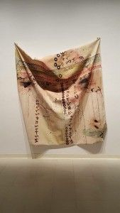 Isabel Manalo combines painting with sewing in her Skin Codes exhibition. Photo by Abby Del Vecchio