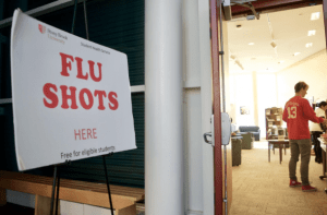 Free flu shots were available to students during Stony Brook University's World AIDS Day event. (Photo by Jack Yu Dec. 01, 2016)