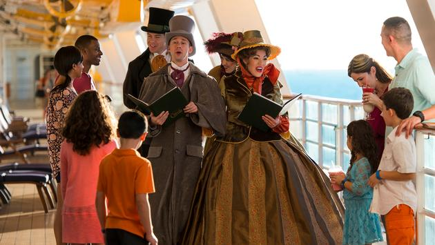 Carolers sing on the ship deck