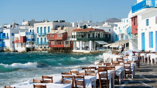 Mykonos, parte do grupo das Cíclades de ilhas gregas no Mar Egeu.