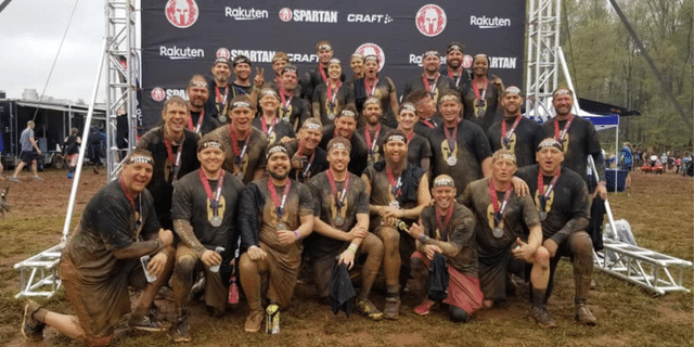 This picture shows the Dry Pro team after they completed the Spartan Race.