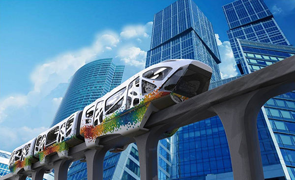 Psychedelic Single Track Transport Colorful Monorail Concept