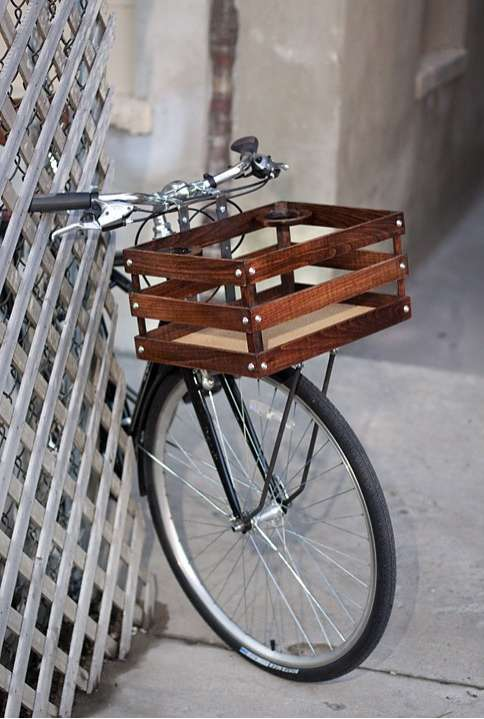 Polished Two Wheeler Peripherals Handmade Wood Bicycle Crate