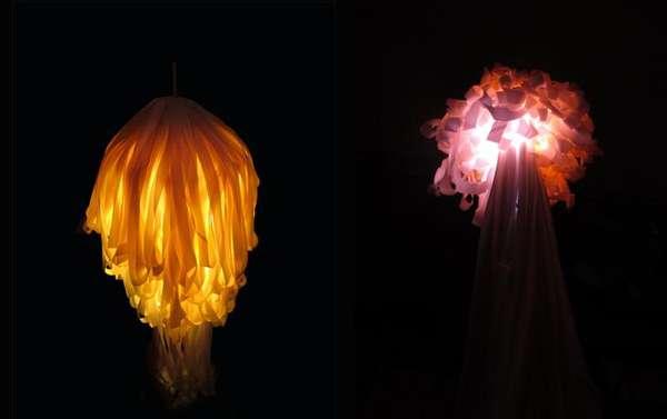 Ribboned Sea Creature Lighting Jellyfish Lamp