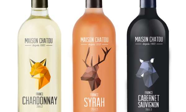 Illustrated Origami Logos Maison Chatou Wine Packaging