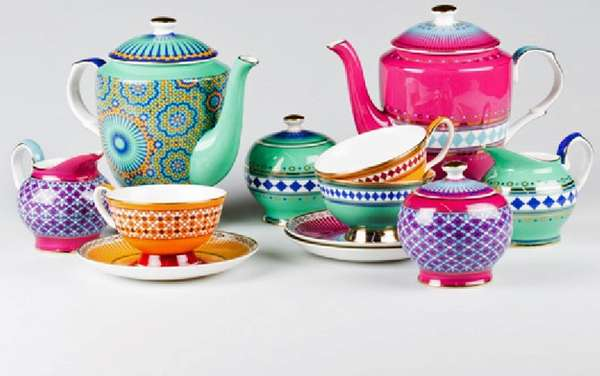 Vibrant Moroccan Patterned Pottery Teaware