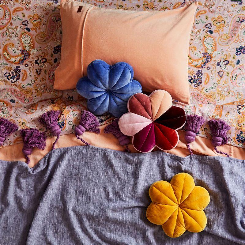 flower shaped velvet cushions velvet