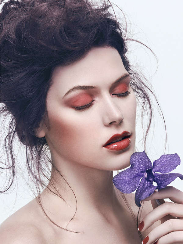 Elegant Floral Beauty Captures Woman With Flowers