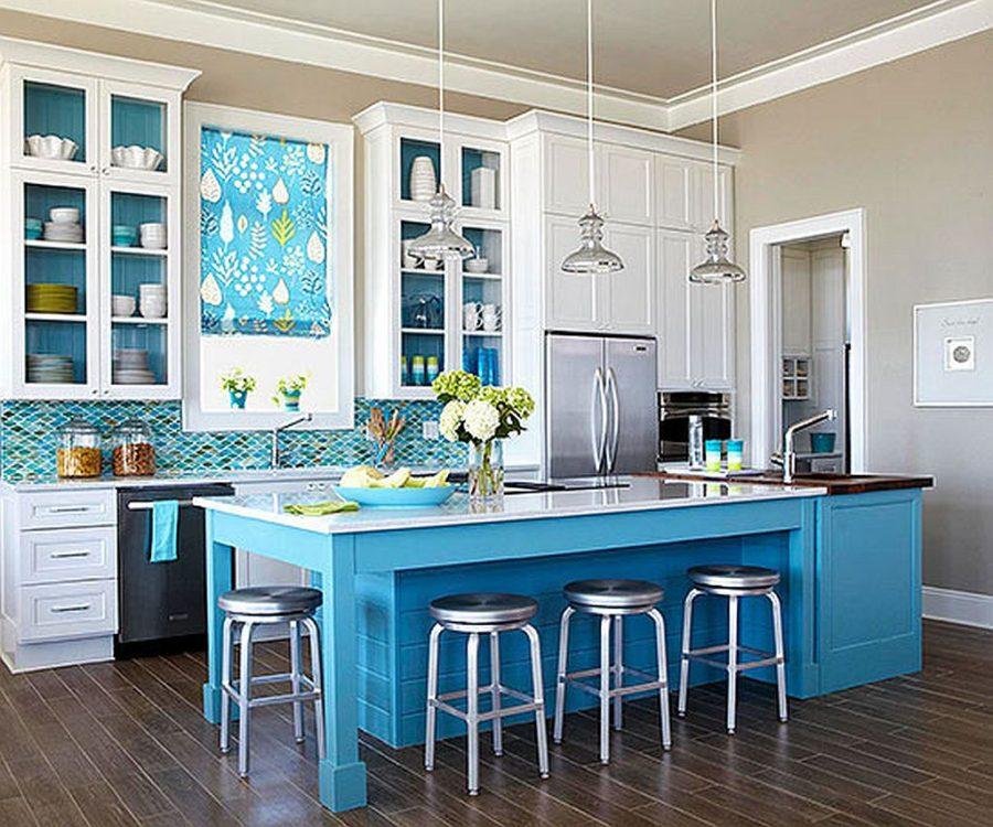 Teal Wall Color Kitchen Novocom Top