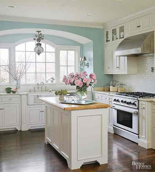 View In Gallery Mint And Ivory Kitchen With Dark Floor
