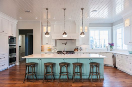 View In Gallery Two Tone Kitchen Cabinet And Painted Wood Floors