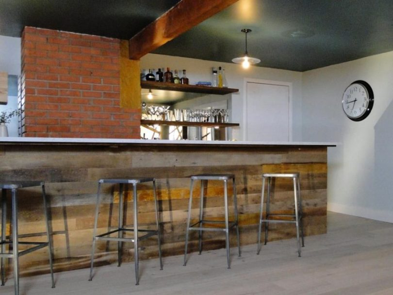 multi texture reclaimed wood bar 900x675 15 Basement Bar Designs To Finish Off That Man Cave