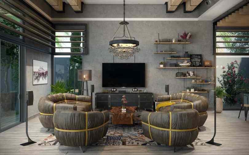 industrial lving room Rustic Industrial Living Room Ideas to Inspire