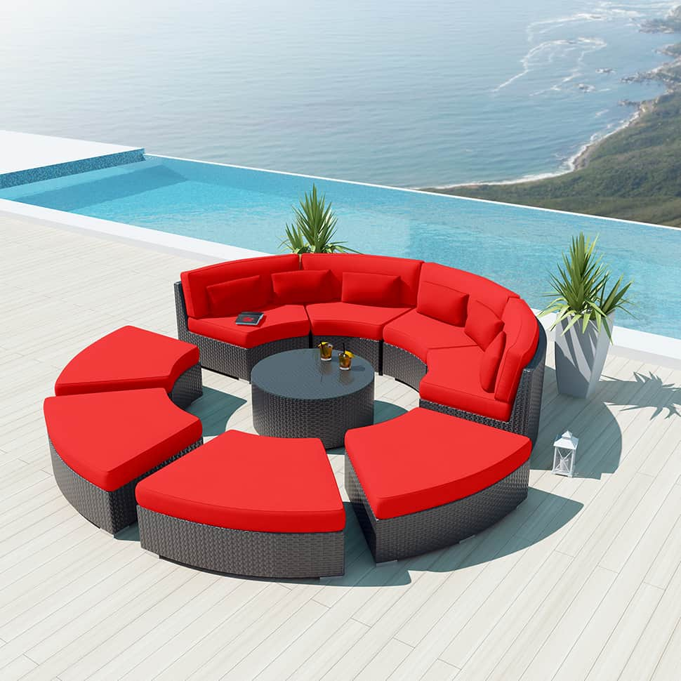 9 piece round outdoor sectional sofa