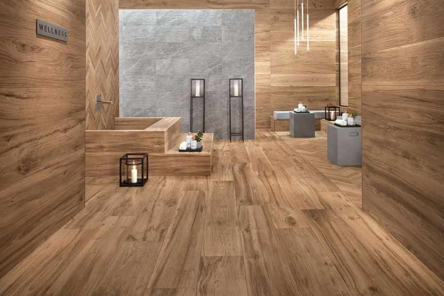 Wood Look Tile  17 Distressed  Rustic  Modern Ideas View in gallery wood grain porcelain tile floor wall bathroom atlas