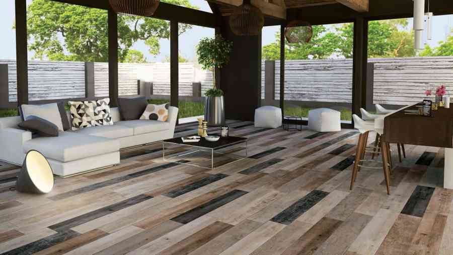 Wood Look Tile  17 Distressed  Rustic  Modern Ideas View in gallery staggered floor tile pattern with random colors mirage