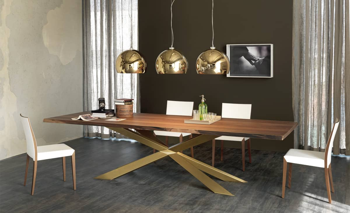 Dining Table With Irregular Solid Wood Edges By Cattelan