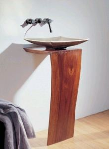 Wood pedestal sink by Stone Forest  L slab design