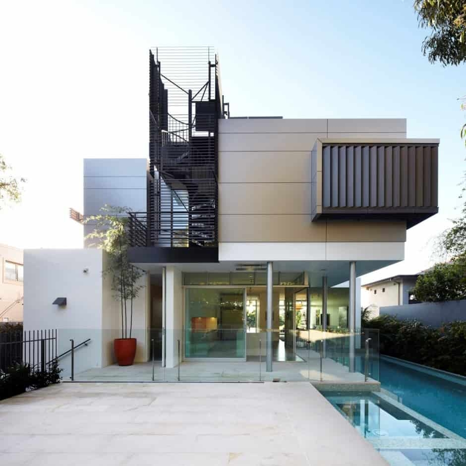 House With Outdoor Spiral Staircase Leading To Rooftop Deck | Outdoor Spiral Staircase For Deck | Farmhouse | Basement | Multi Level | 2Nd Floor | Steel