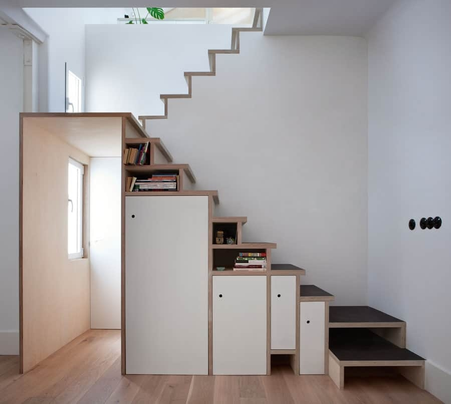 Space Saving Stair Storage Design In Plywood | Space Saver Staircase Plans | Stair Case | Storage | Spiral Staircases | Landing | Staircase Ideas