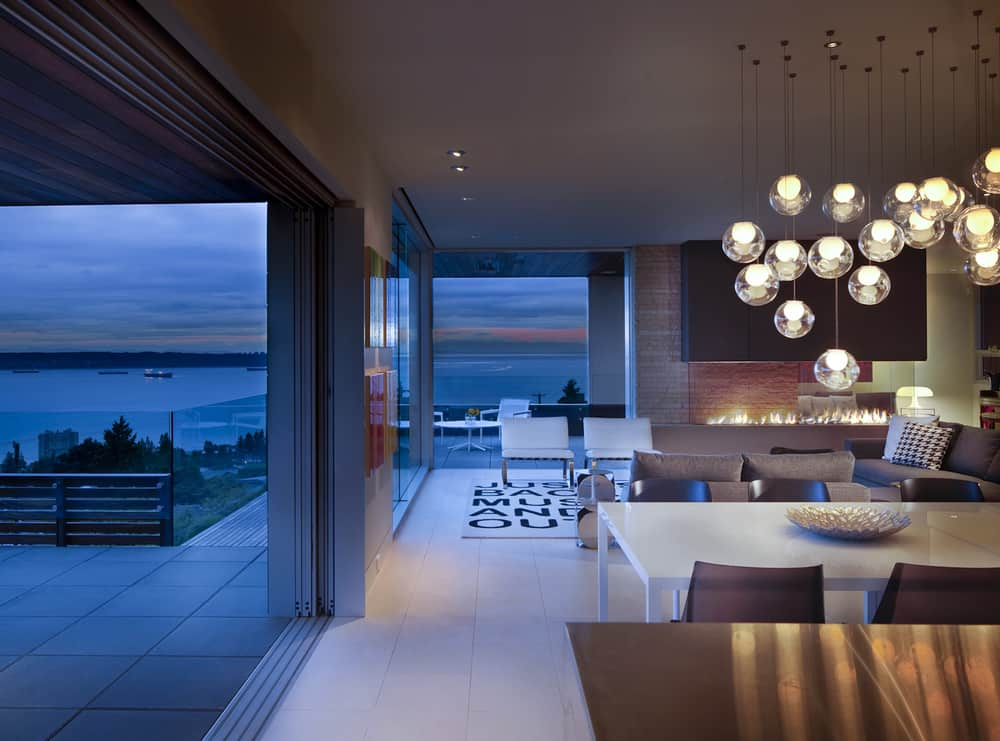 Living Room With A View Of The Ocean And Of The Fire