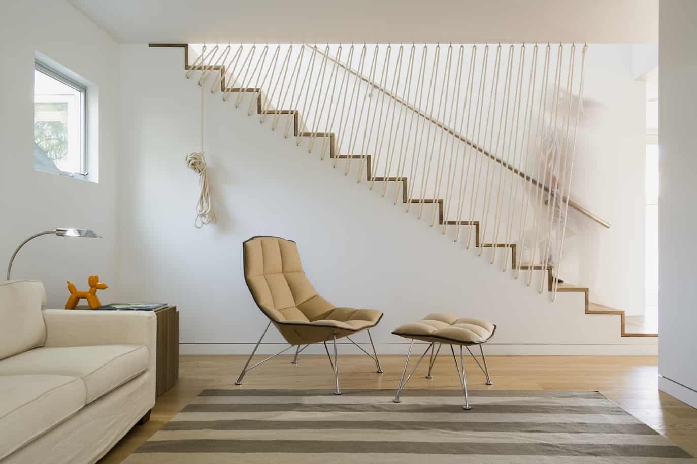 Stairs With Rope Railing Look | Nautical Rope Stair Railing | Ship Rope | Closed Staircase | Cottage Style | Banister | Minimalistic