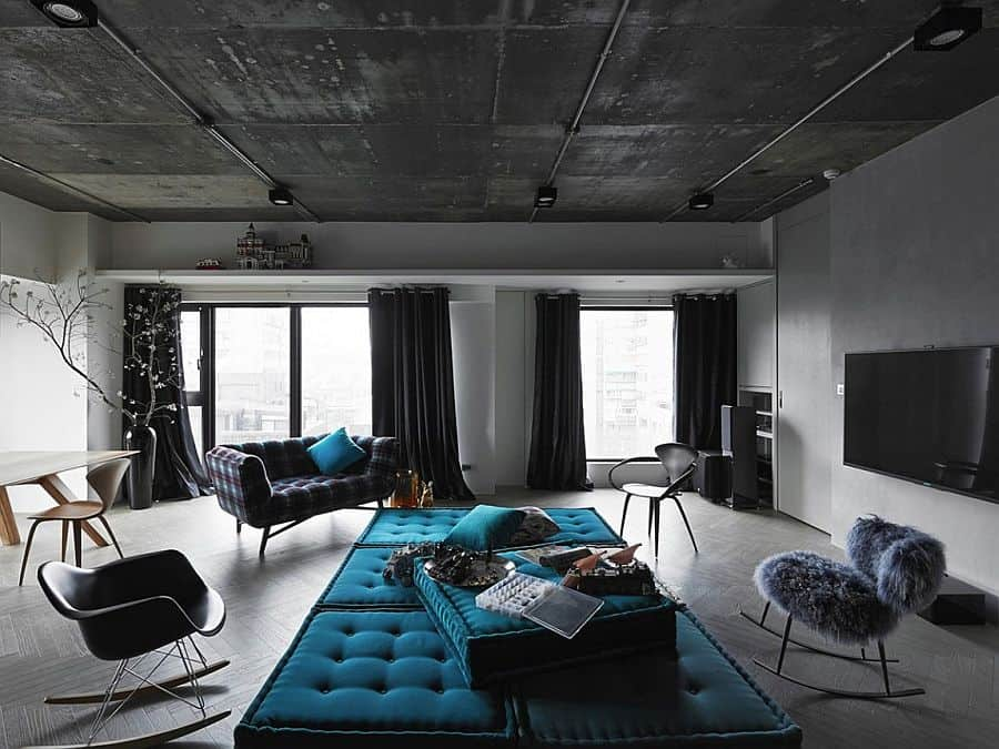 Black Grey And Blue Living Room Filled With Roche Bobois Part 38