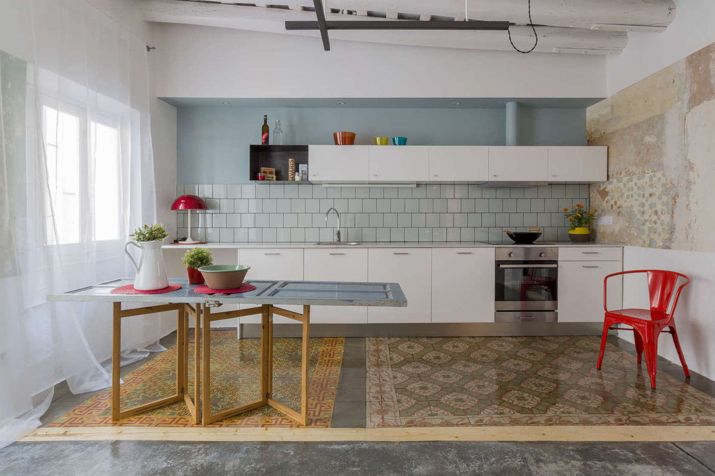 4 tile rug designs in one small appartment