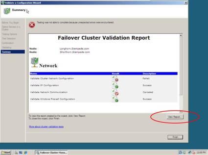 Failovercluster-Validierungsbericht