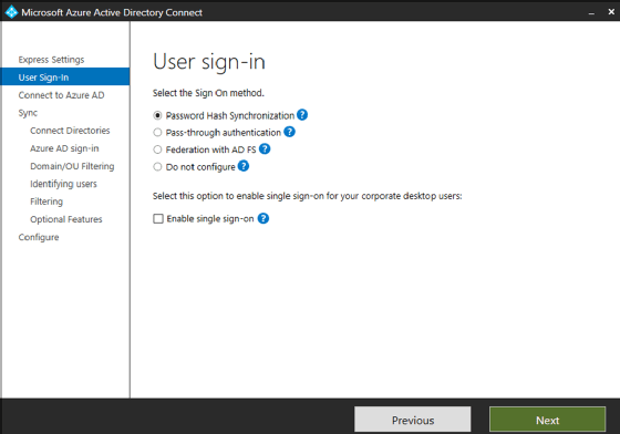 Azure AD Connect-Assistent