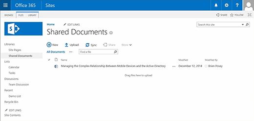 Eine SharePoint Online-Dokumentbibliothek.
