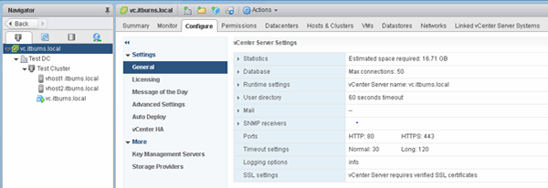 Configuring vCenter HA.