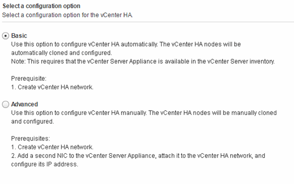 VCenter HA configuration options.