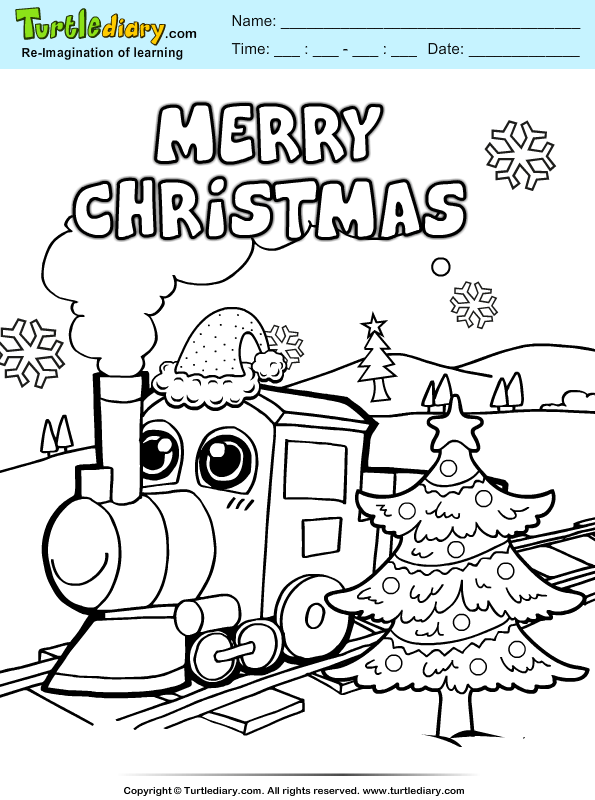 christmas train coloring sheet turtle diary