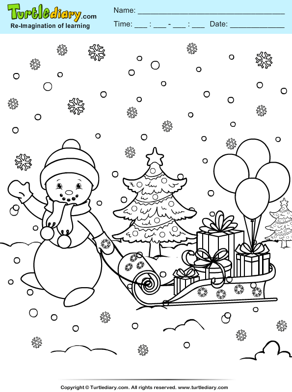 snowman sleigh coloring sheet turtle diary