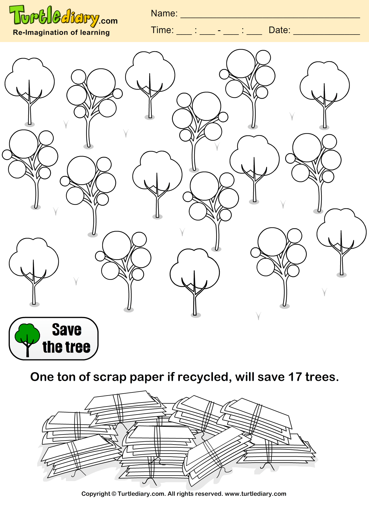Save Trees Coloring Sheet