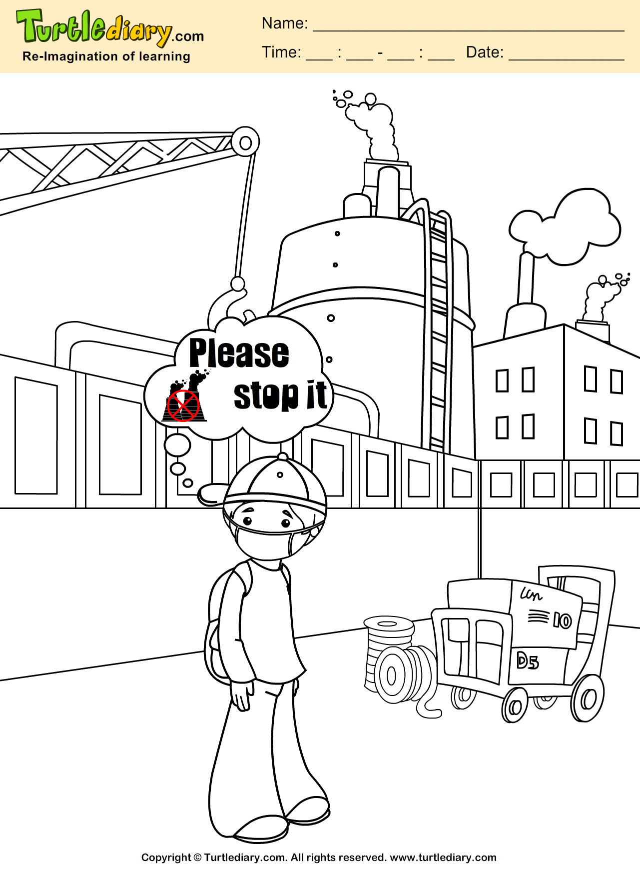 Stop Pollution Coloring Sheet