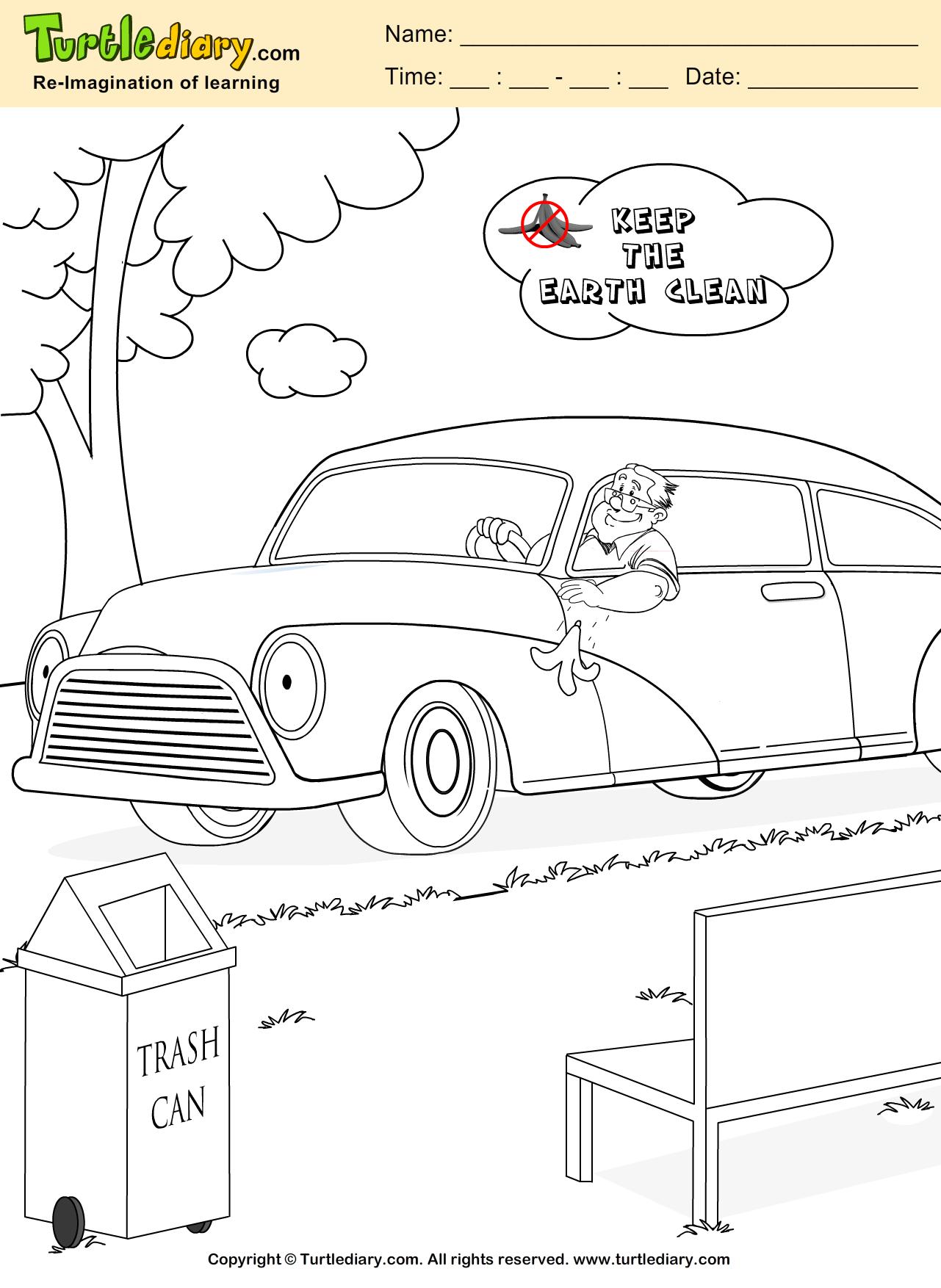 Trash Can Coloring Sheet