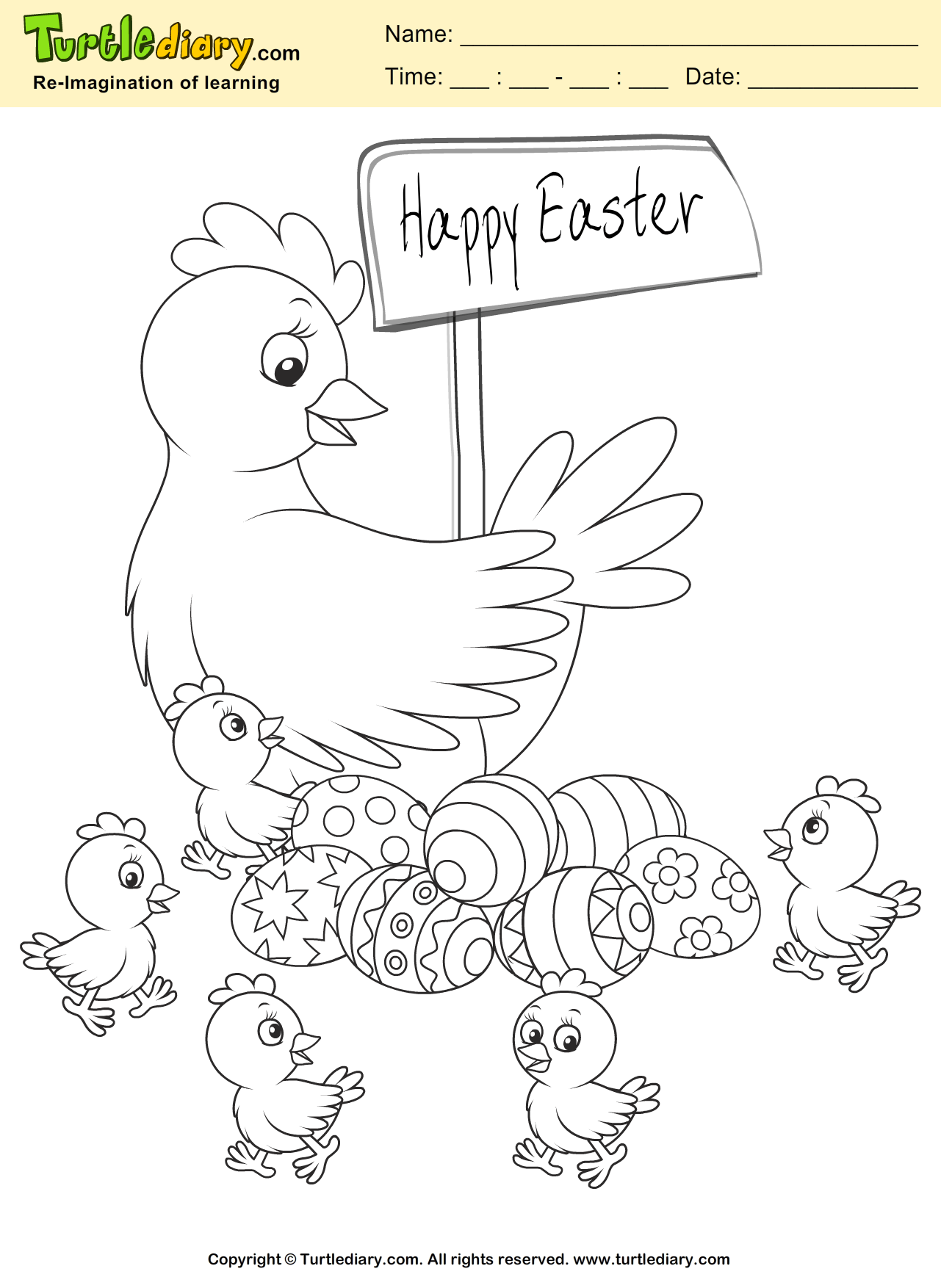 Easter Chicken Coloring Sheet