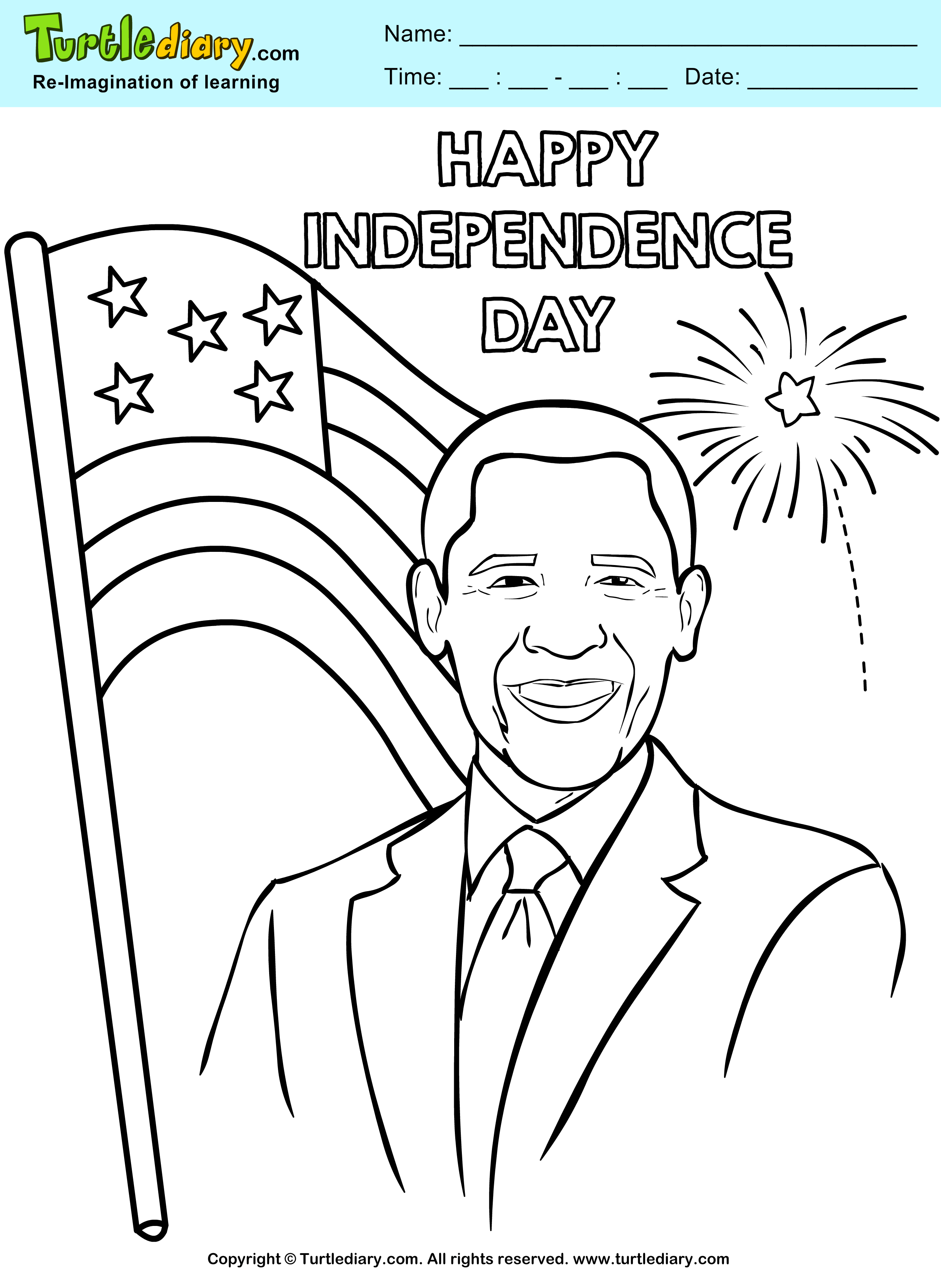 Happy Independence Day Coloring Page