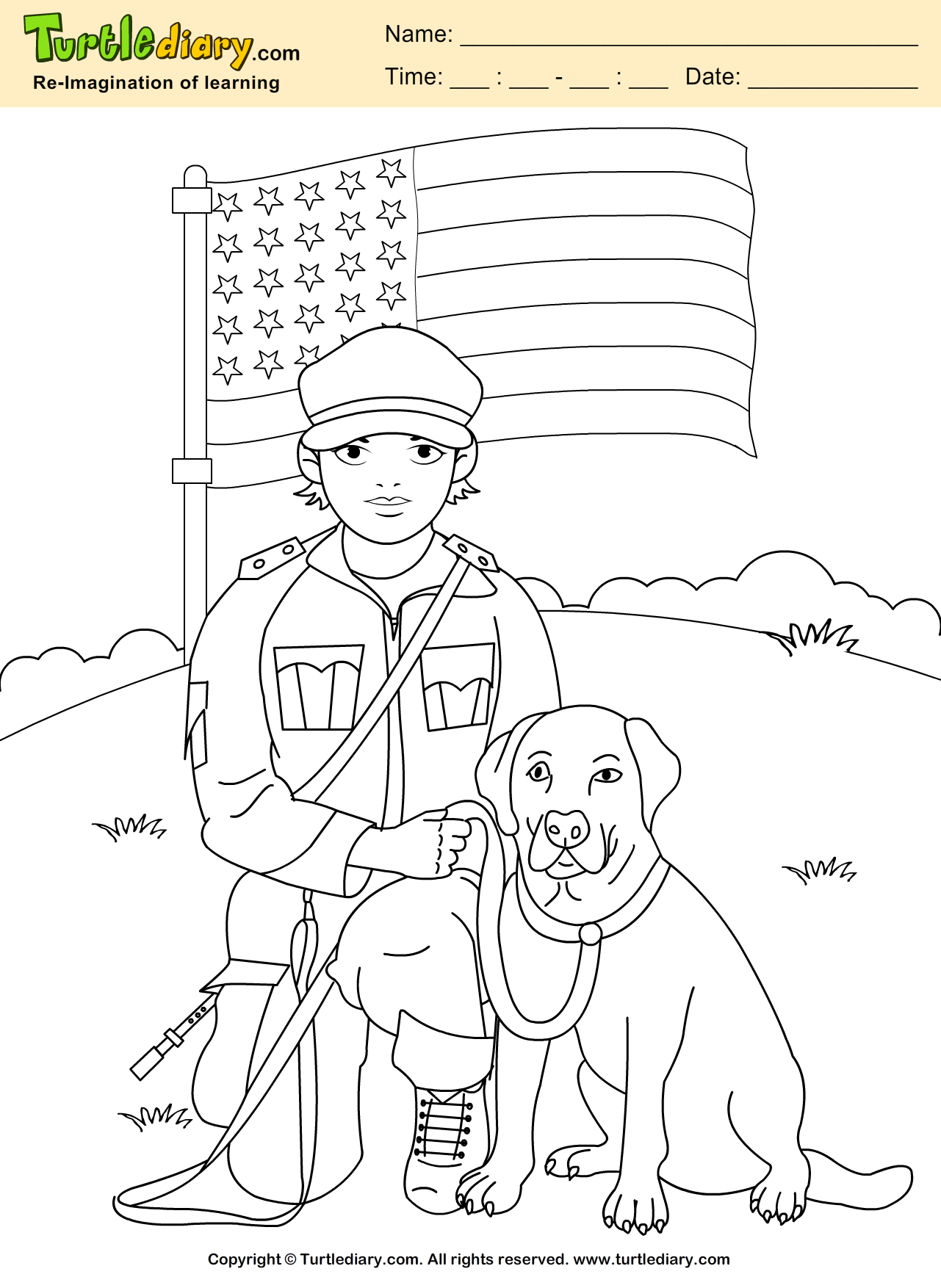 Sol R With Dog Coloring Sheet