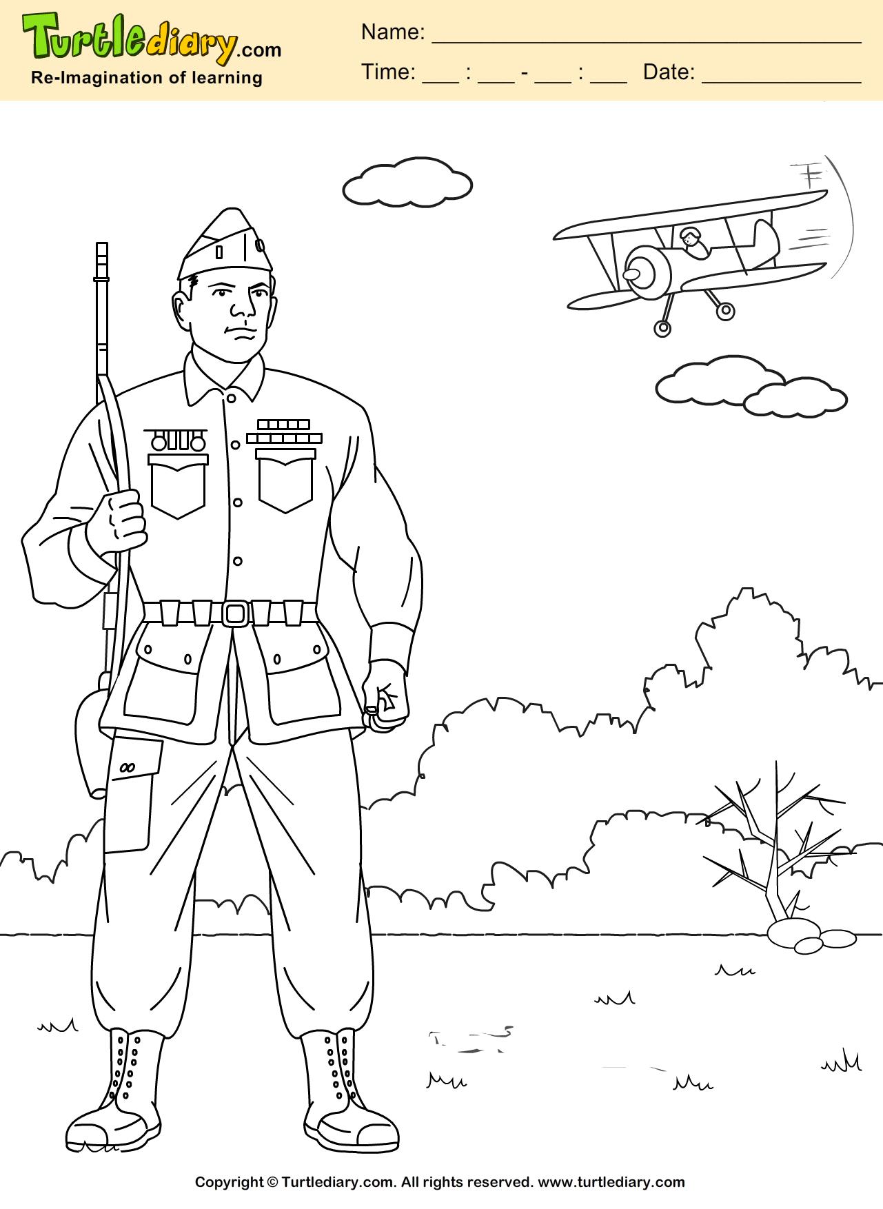 Veteran Coloring Sheet