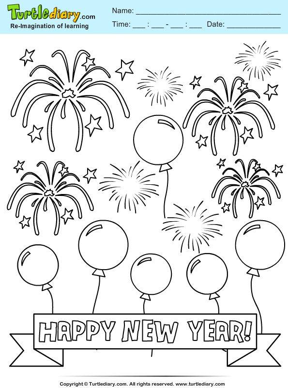 balloon and firework coloring page turtle diary