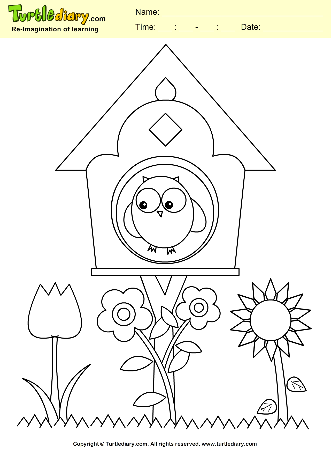 Bird House Coloring Sheet