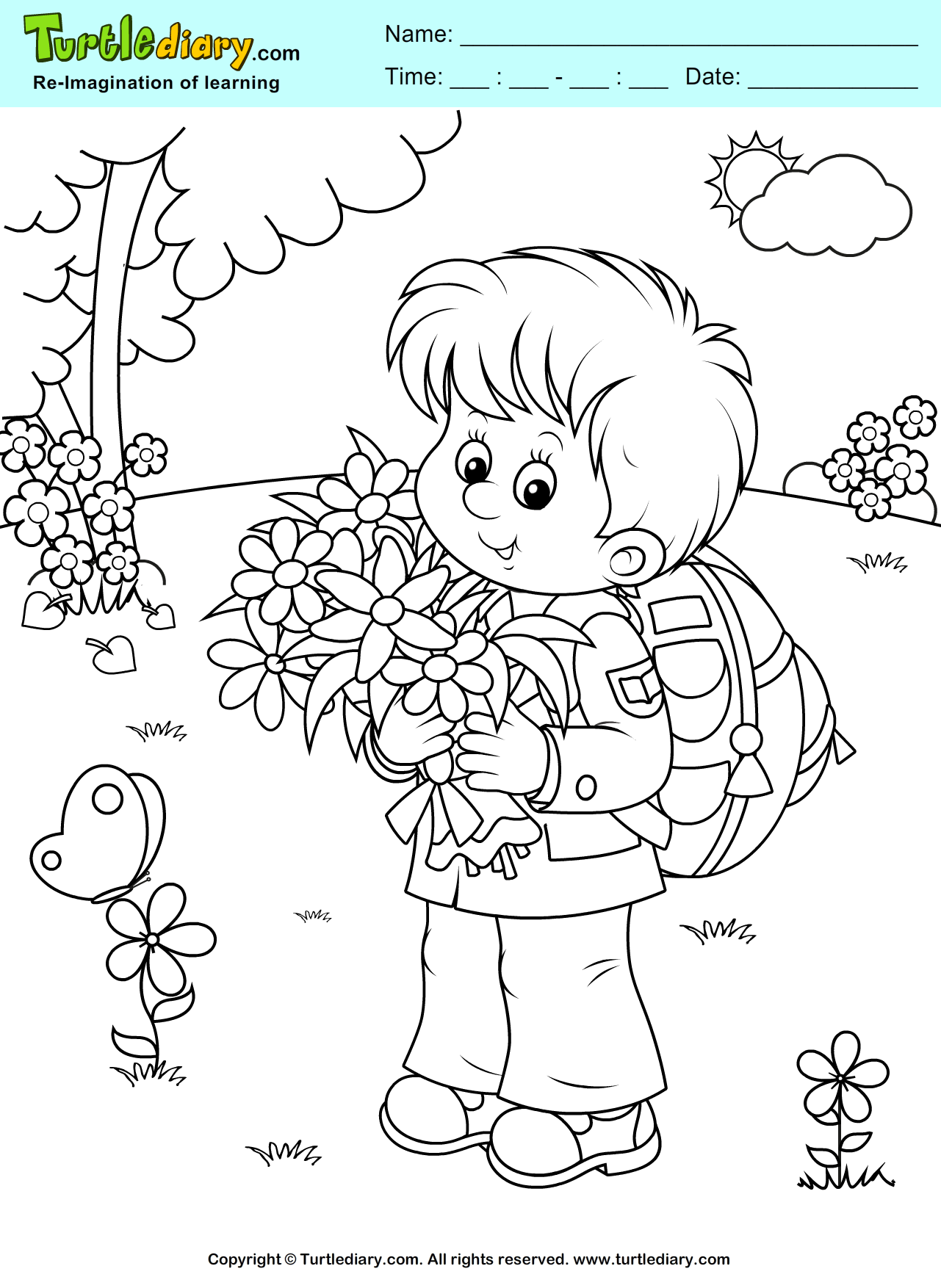 Boy With Flowers Coloring Sheet