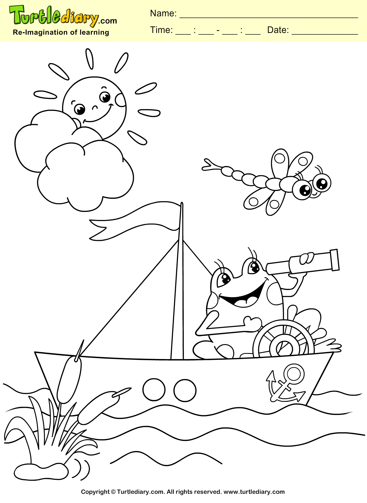 Frog And Boat Coloring Page Coloring Sheet