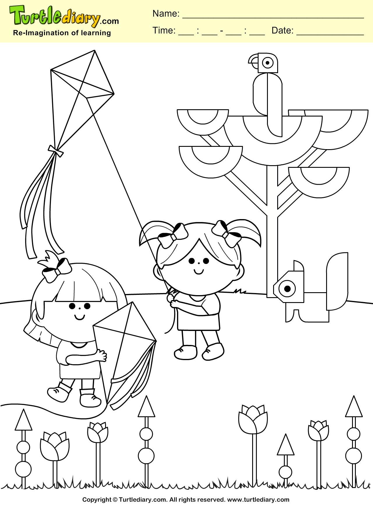 Kite Coloring Sheet