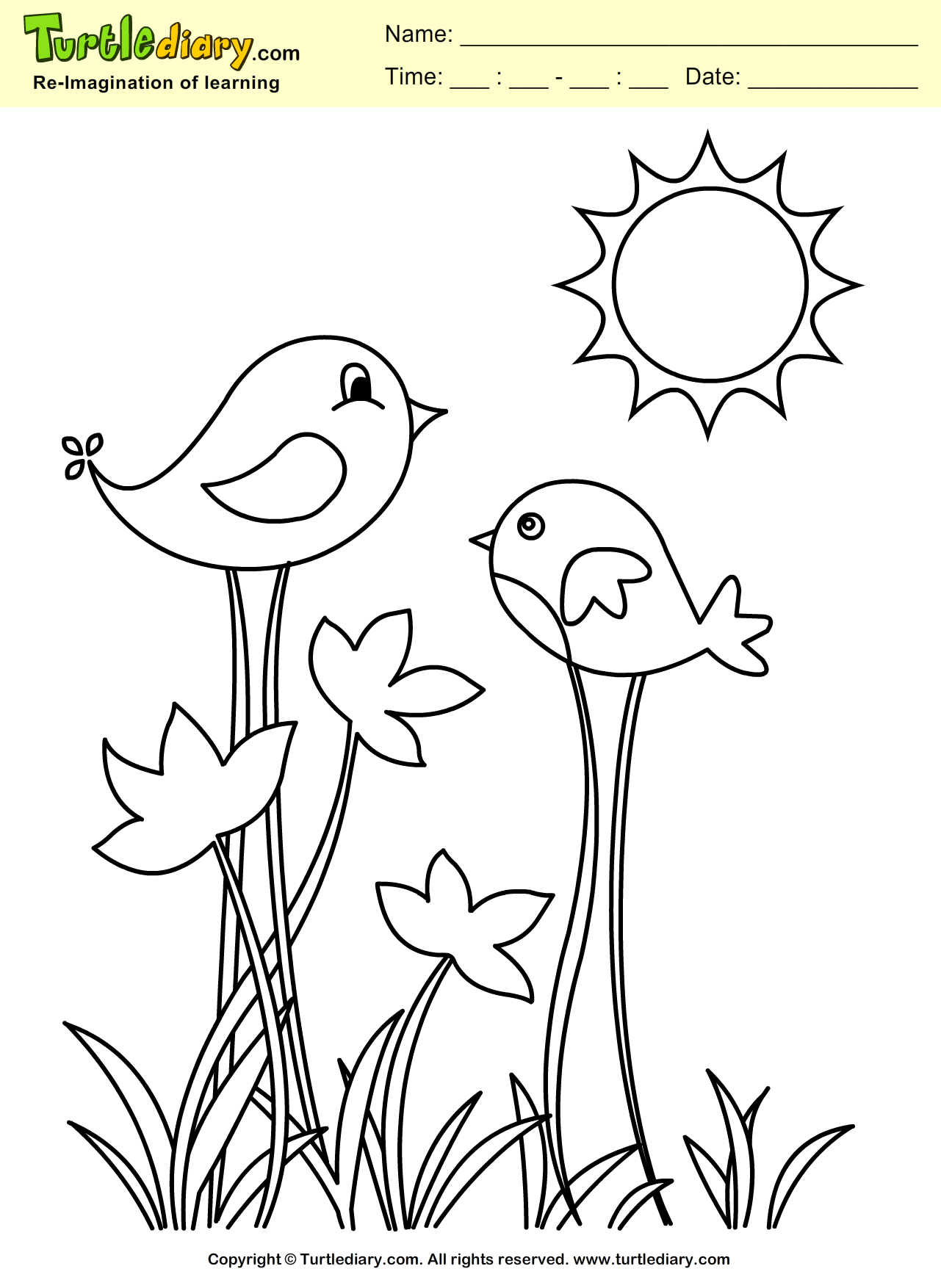 Spring Bird Coloring Sheet